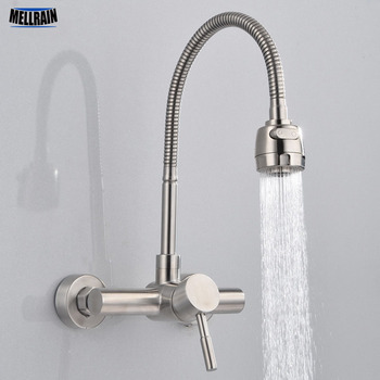 Free Shipping Stainless Steel material Wall Mounted Kitchen sink mixer faucet With free rotation hose mixer water Tap