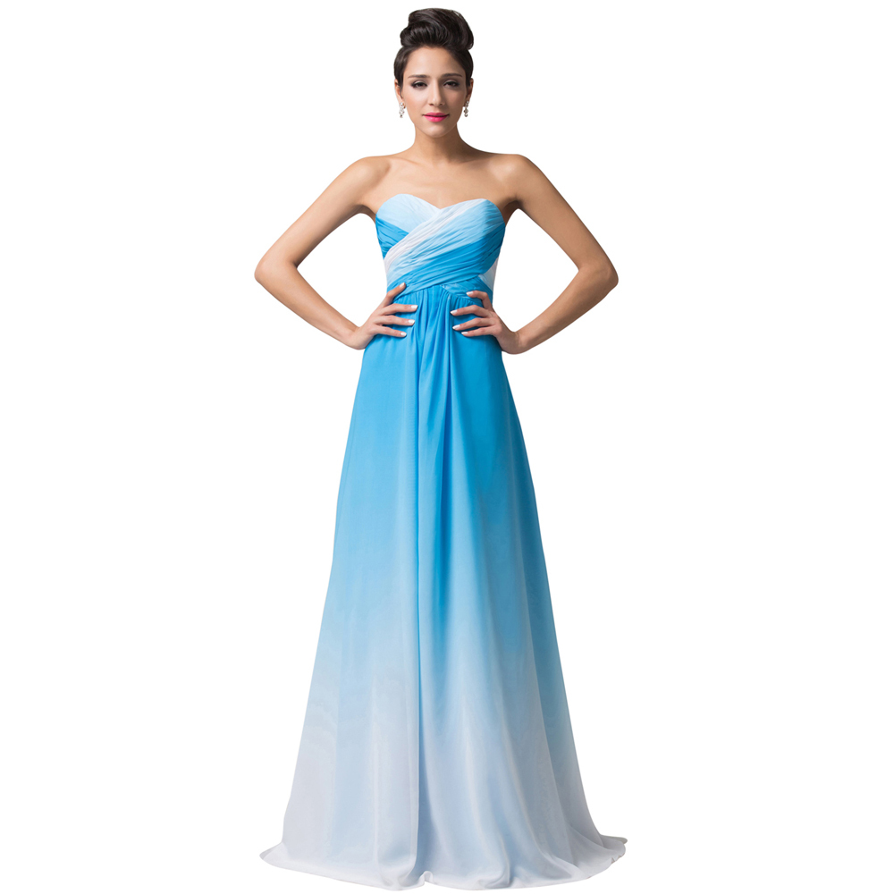 Real Photo Floor Length Long Ombre Dress Red Blue Green Prom Dresses