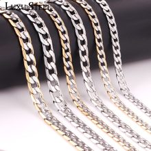 LUXUSTEEL Curb Chain Jewelry Stainless Steel Men Necklace Width 6mm/8mm/10mm Length 50cm/55cm/60cm Silver/Mixed Long Necklaces(China)