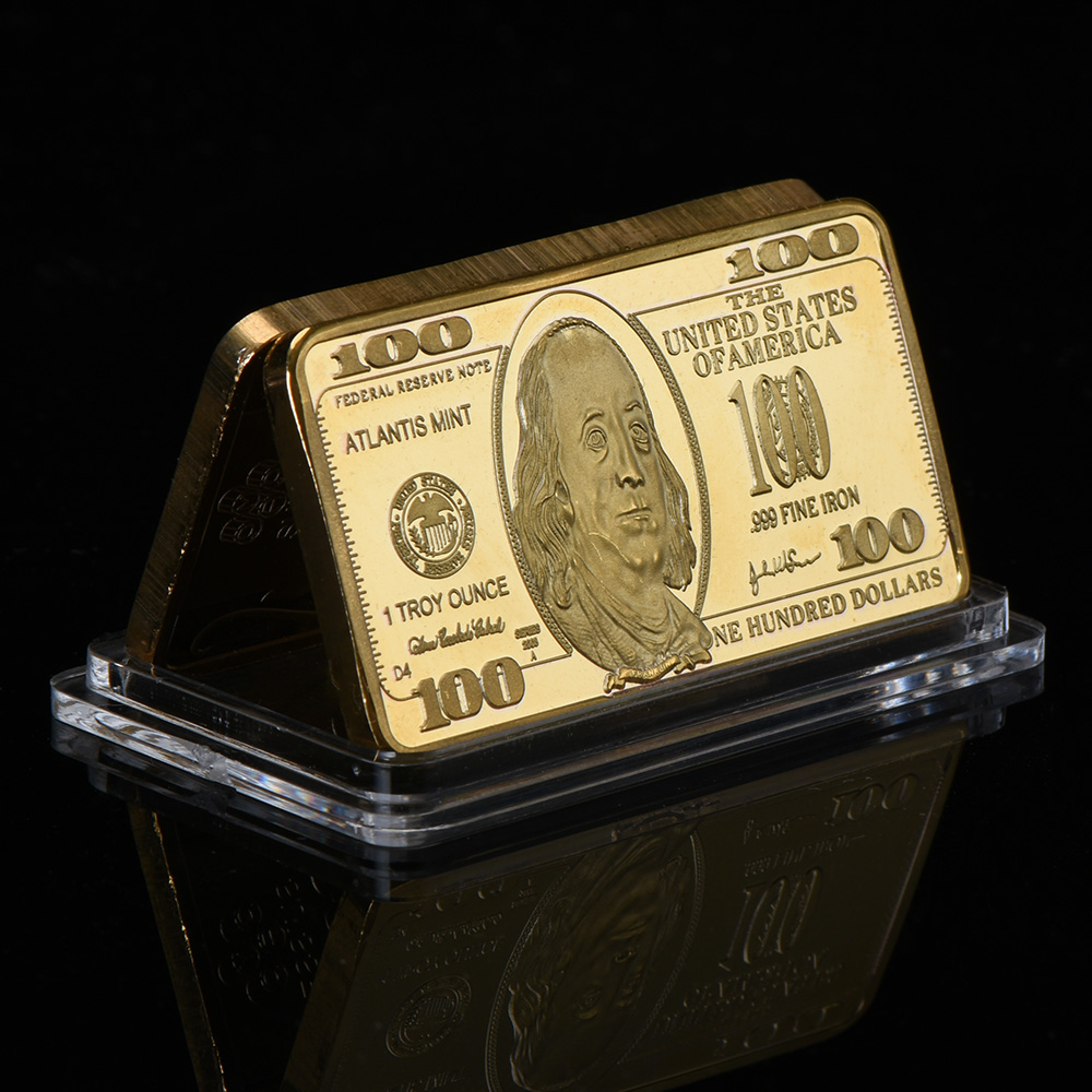 wr usa banknote gold bar 999 9 gold 100 dollar gold bullion bar replica coin copy metal crafts. Black Bedroom Furniture Sets. Home Design Ideas