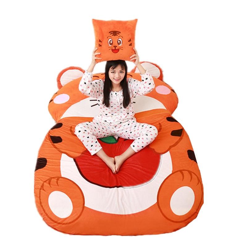 Fancytrader Cartoon Animal Tiger Tatami Giant Stuffed Soft Beanbag Bed Carpet Mat Sofa