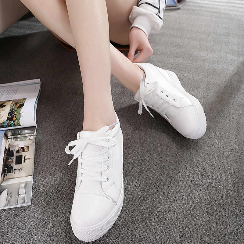 Schwarz Weiß Versteckter Keil Heels turnschuhe Casual Schuhe Frau hohe Plattform Schuhe frauen High heels keile Schuhe Für Frauen