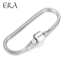 2pcs Stainless Steel Blank Bracelets Snake Chains with European Clips DIY Charms Bracelet Jewelry Making Finished Chain 16-22cm