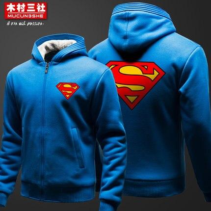 Superman thicken wool hoodie Batman thick Sweatshirts Dwyane LOGO coral velvet jacket winter new men Superman thicken sweatshirt