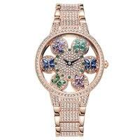 Горячие роскошные женские часы Мода полный алмазов стали полосы Relogio розовое золото кварцевые часы женские часы полые 30 MWaterproof часы