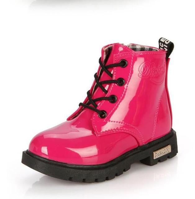 Nueva Llegada de la Primavera 2016 de Los Niños Martin botas Niños botas Niños Niñas zapatos botas de Lluvia Del Tobillo botas de Nieve de charol size21-36