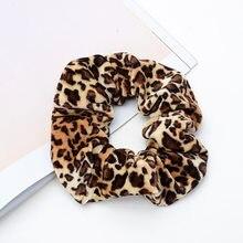 Elástico de veludo para cabelo, faixa elástica de leopardo com estampa, para mulheres, básico