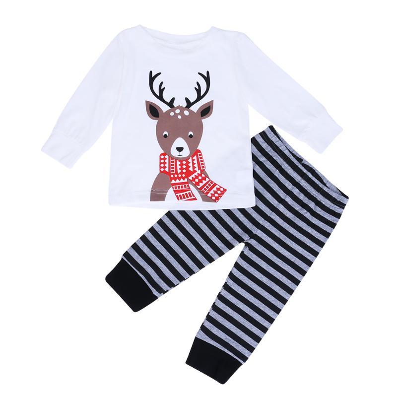 2pcs Baby Christmas Clothes Set Long Sleeve Elk Print T-shirt+Striped Pants 2pcs Suit Baby Boy Girl Clothes Newborn
