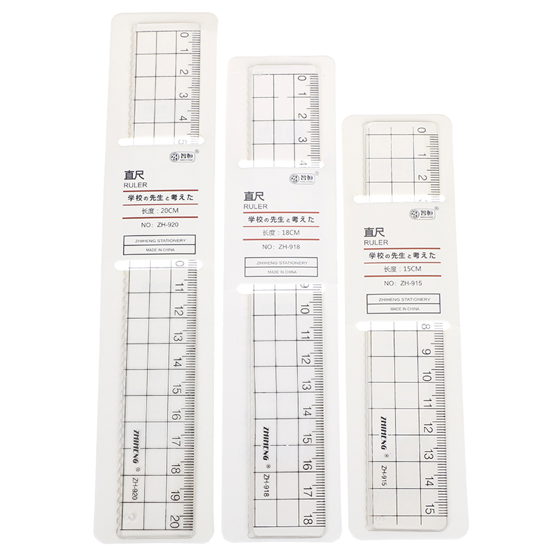 1pcs 15cm 18cm 20cm Transparent Simple Ruler Plastic Square Ruler Cute Learning Stationery Drawing School Supplies