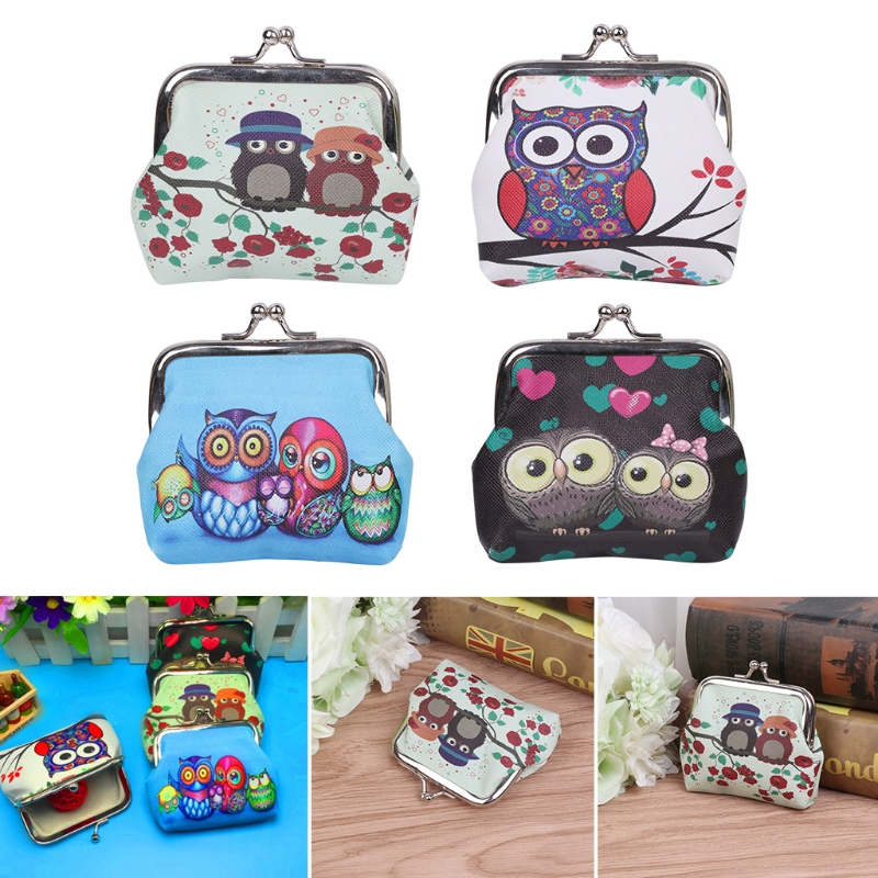 THINKTHENDO Women Girl Retro Owls Mini Change Wallet Hasp Clutch Coin Storage Purse Bag