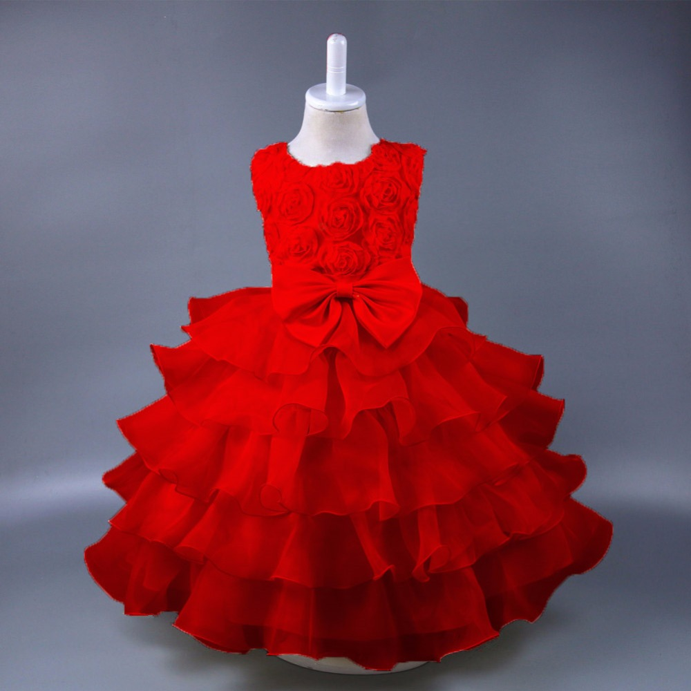 Kids Dresses For Girls Ball Gown princess wedding dresses Girls birthday party for 3 4 5 6 7 8 9 10 years old Summer 2018 fashion 2 3 4 5 6 7 8 years girls children wedding clothes flying sleeve ruffles short birthday princess dresses for party