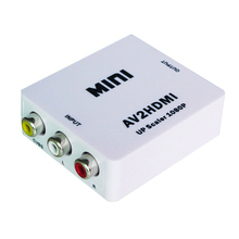Free Shipping RCA AV to HDMI Converter Adapter Mini Composite CVBS to HDMI AV2HDMI Converter in Retail Package 1080P