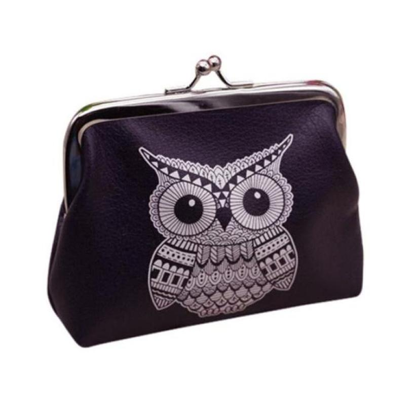 Womens Owl Coin Purses Lady Retro Vintage Small Wallet Hasp Purse Black Clutch Bag Dropshipping Wholesale #Y