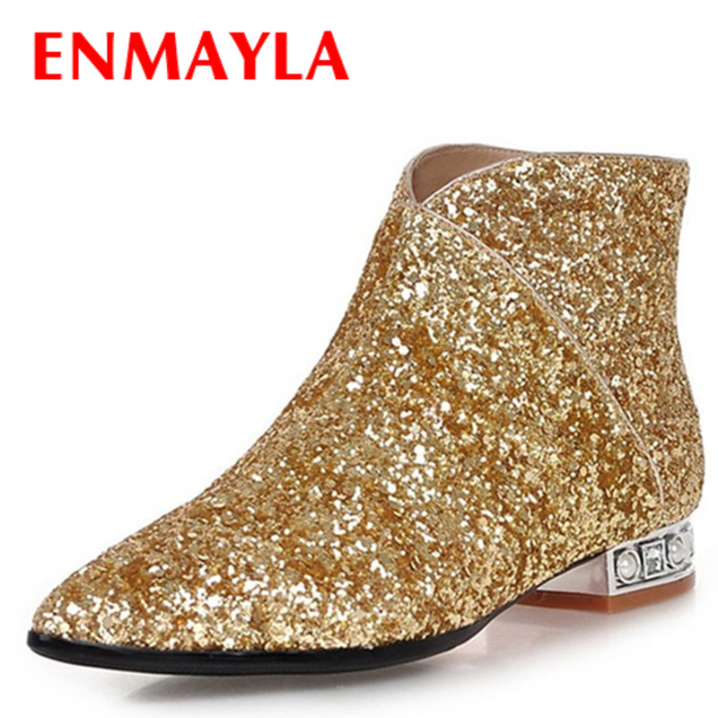 ENMAYLA Glitter Pointed Toe Flats Ankle Boots for Women Black Silver Gold Short Shoes Women Autumn Boots Size 43 White Shoes in Ankle Boots from Shoes