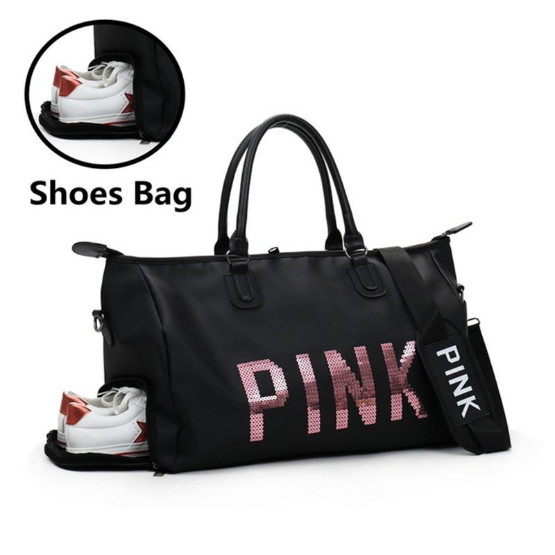 2020 Newest Design Sequins Black Women Gym Bag Fitness Travel Handbag Outdoor Separate Space For Shoes Sac Sports Women's Bag