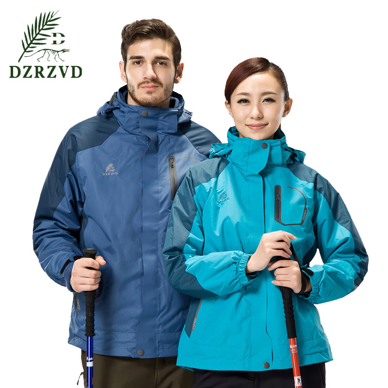 ФОТО 2016 outdoor jacket men women waterproof windproof Lovers hunting clothes 3 In 1 Ski Jacket Two Pieces Warm climbing For Women
