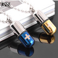 JINSE BLS009 Stainless Steel Pill Pendant Cross Necklace Chain Titanium Steel Necklaces 2017 New fashion pill charm necklace