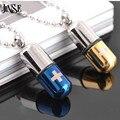 Jinse bls009 píldora de acero inoxidable colgante cruz collar de cadena collares de acero titanium 2017 de la nueva manera píldora encanto collar