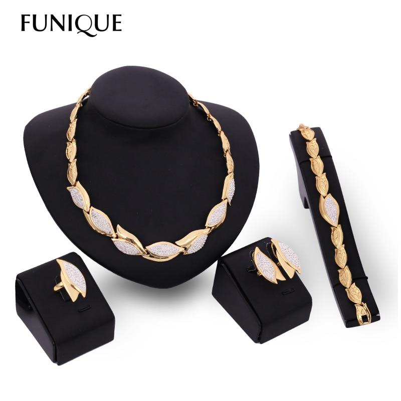 100% QualitäT 4 Teile/satz Gold Farbe Blume Dubai Schmuck-set Nigerian Afrikanischen Kristall Brautschmuck Set Für Frauen Strass Ethiopian Schmuck