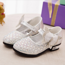 Mini princess shoes low heel rhinestones Girls kids leathers shoes Spring 2016 new bow children s