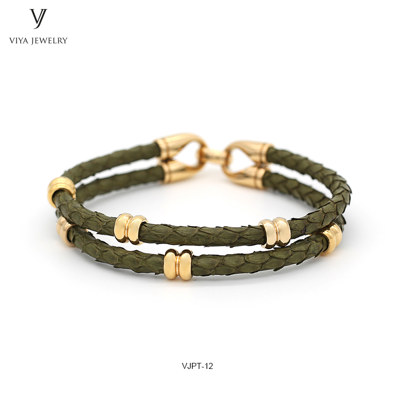 Charming Army Green Python Leather Bracelet To Match Watch Men Pytnon Cords & Stainless Steel Clasp Bracelet Two Wrap Bracelets charming glaze tube shape bracelet for men