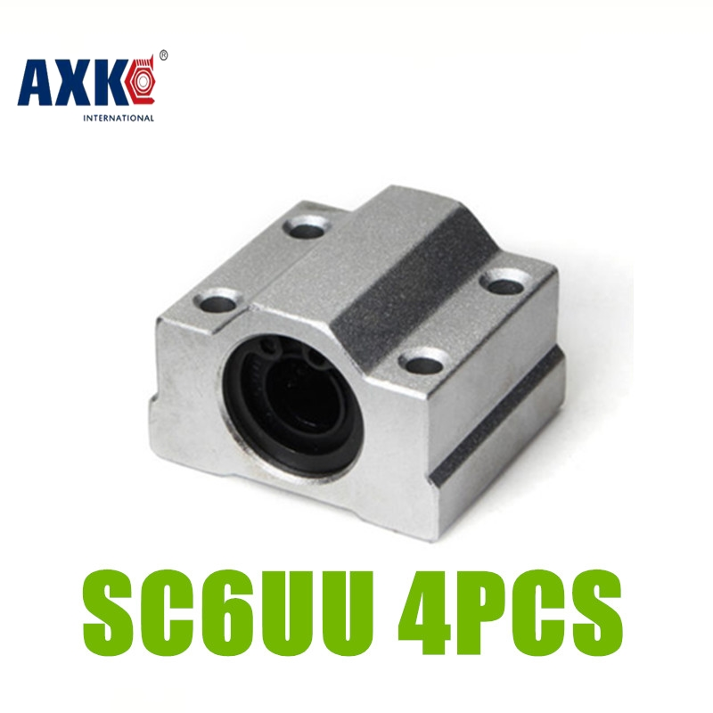 AXK Free Shipping 4 pcs SCS6UU SC6UU Linear Bearing 6mm Linear Slide Block 6mm CNC Router linear slide free shipping sc16vuu sc16v scv16uu scv16 16mm linear bearing block diy linear slide bearing units cnc router