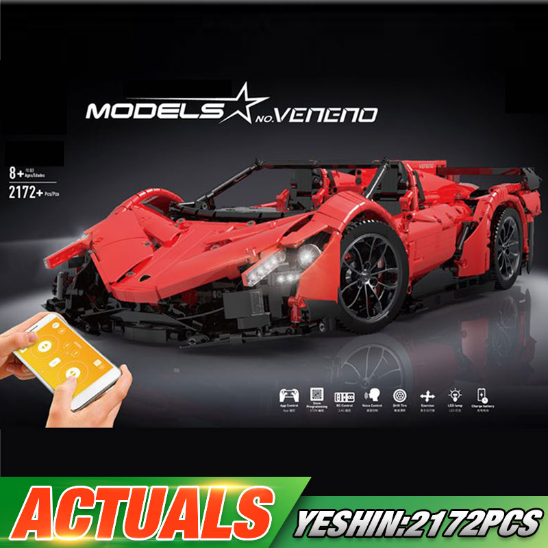 Yeshin 20091 App RC Car The New MOC 10559 Veneno Roadster With Motor Function Set Building
