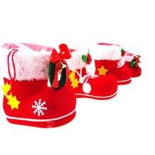 Botas Calcetines caramelo para niños invierno Navidad Santa flocado  decoración del bolso del regalo(China e94ca904612aa