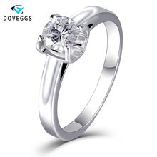 DovEggs Elegante Solide 14 K Weiß Gold 5mm 0,5 carat FG Farbe Lab Grown Moissanite Engagement Ring für Frauen comfort Fit Band