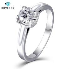 DovEggs eleganckie stałe 14 K białe złoto 5mm 0.5 carat kolor FG Lab Grown Moissanite pierścionek zaręczynowy dla kobiet comfort Fit pasmo