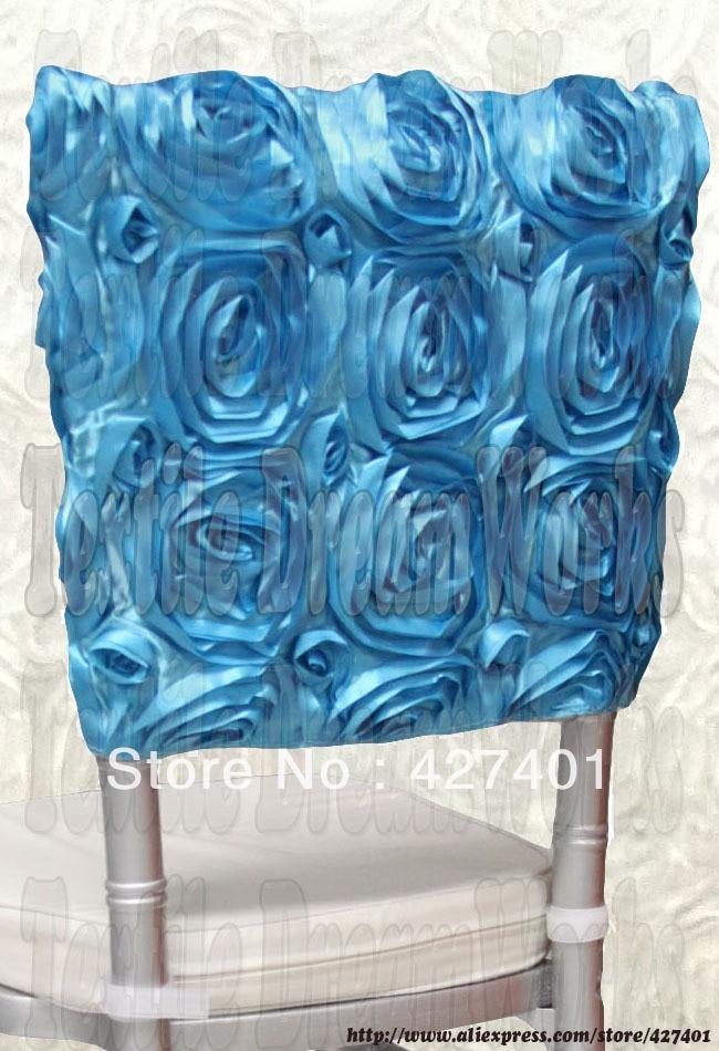 Aqua Blue Satin Rosette Chiavari Chair Hoods/ Chair Caps / Wrap Tie Back / Chair Sash For Wedding Event&Party&Banquet Decoration