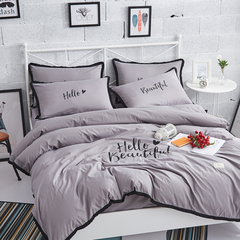 Brief Duvet Cover Set Solid Color pink Gray Queen Bedding Sets Blanket Cover Fringed edge Bed Linen Girl Like roupa de cama