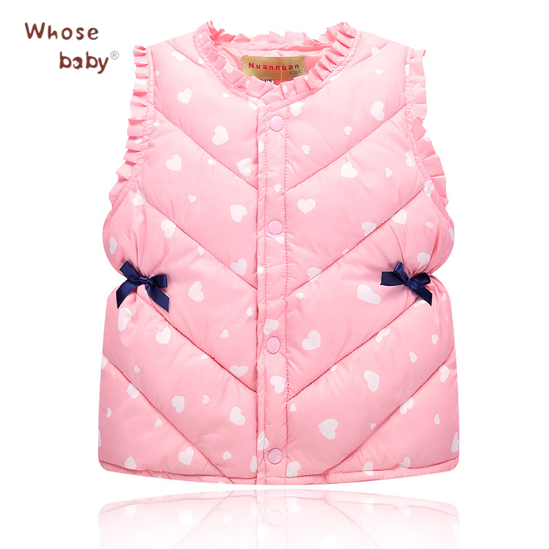2017 Winter Girls Coats Cotton Kids Outwear Fashion Down Jacket For Girl Cute Bows Children Clothing Sleeveless Thick Warm Vest russia winter boys girls down jacket boy girl warm thick duck down