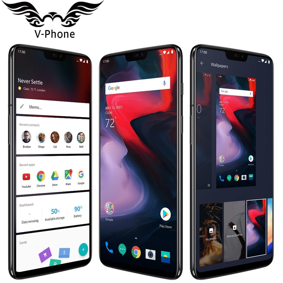 2018 Nuovo Originale Oneplus 6 8 GB di RAM 128 GB di ROM Cellulare Phone 6.28 ''Snapdragon 845 Android 8.1 20MP 16MP Fotocamera NFC impermeabile