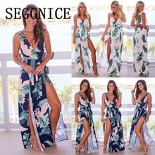 Women Long Dress Print Boho Beach Dress Maxi Dress Women Evening Party Sexy Halter V Neck Split Sundress 2019 Summer New sisjuly print halter maxi dress