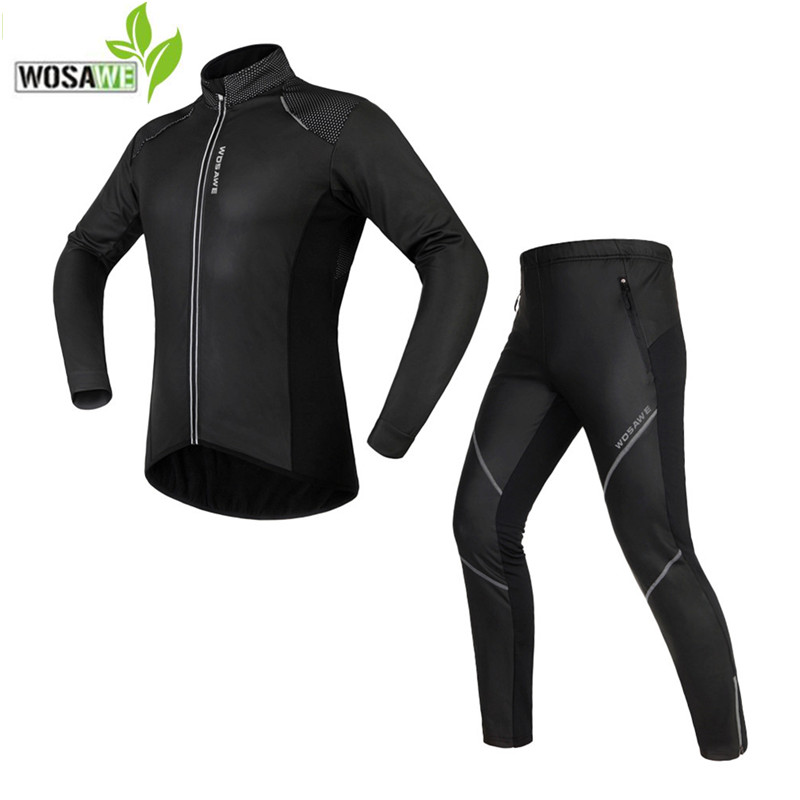 WOSAWE Cycling jersey Jacket Sets Waterproof Windproof Long Sleeve Bike Riding Coat Pants Suits ropa ciclismo cycling clothing