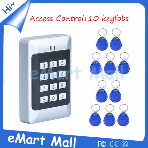 Free Shipping+Free Gift Proximity RFID Door Controller/Password Keypad Access Control System +10 piece RFID keyfob high quality proximity rfid door controller password keypad access control system with rain cover k2000 rfid access control