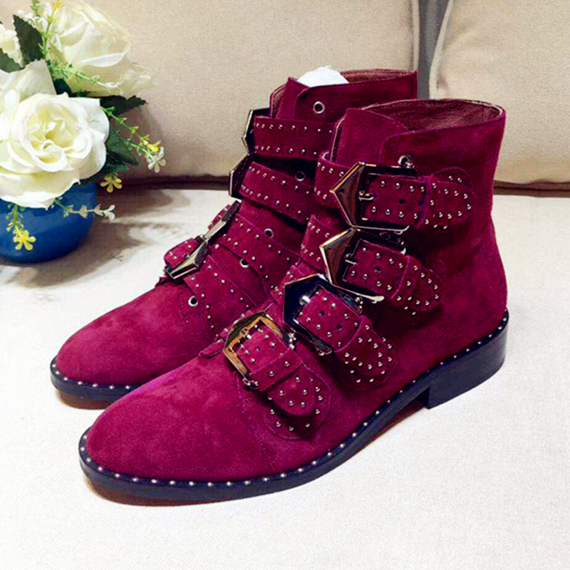 Hot Autumn Winter Shoes Woman Ankle Boots Leather Buckle Boots Designer Woman Superstar Boots Woman Tide Casual Round Toe Boots цена