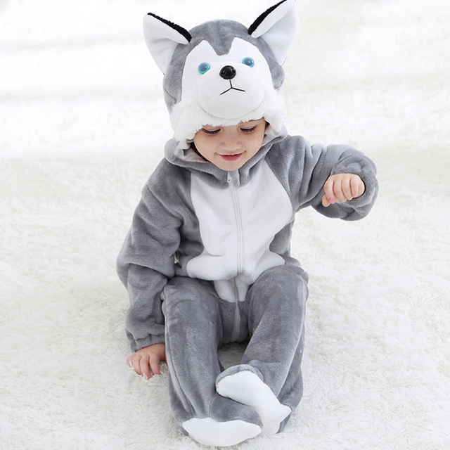 6f0a3ef4a206 New Lovely Flannel Husky Dog Baby Romper Spring Autumn Long Sleeve  Jumpsuits Toddler Boy Girl Clothes for 0-3 Years Children
