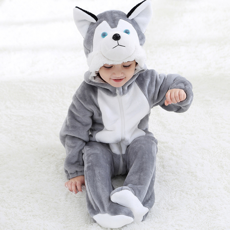 New Lovely Flannel Husky Dog Baby   Romper   Spring Autumn Long Sleeve Jumpsuits Toddler Boy Girl Clothes for 0-3 Years Children