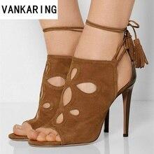 В римском стиле ретро туфли-лодочки женские сандалии тонкий высокий каблук с открытым носком вечерние женская обувь с резным узором из искусственного замша; Босоножки на платформе