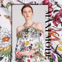 108cm digital printing natural silk fabric 19 momme dress shirt stretch silk satin fabric cheongsam fabric satin silk cloth