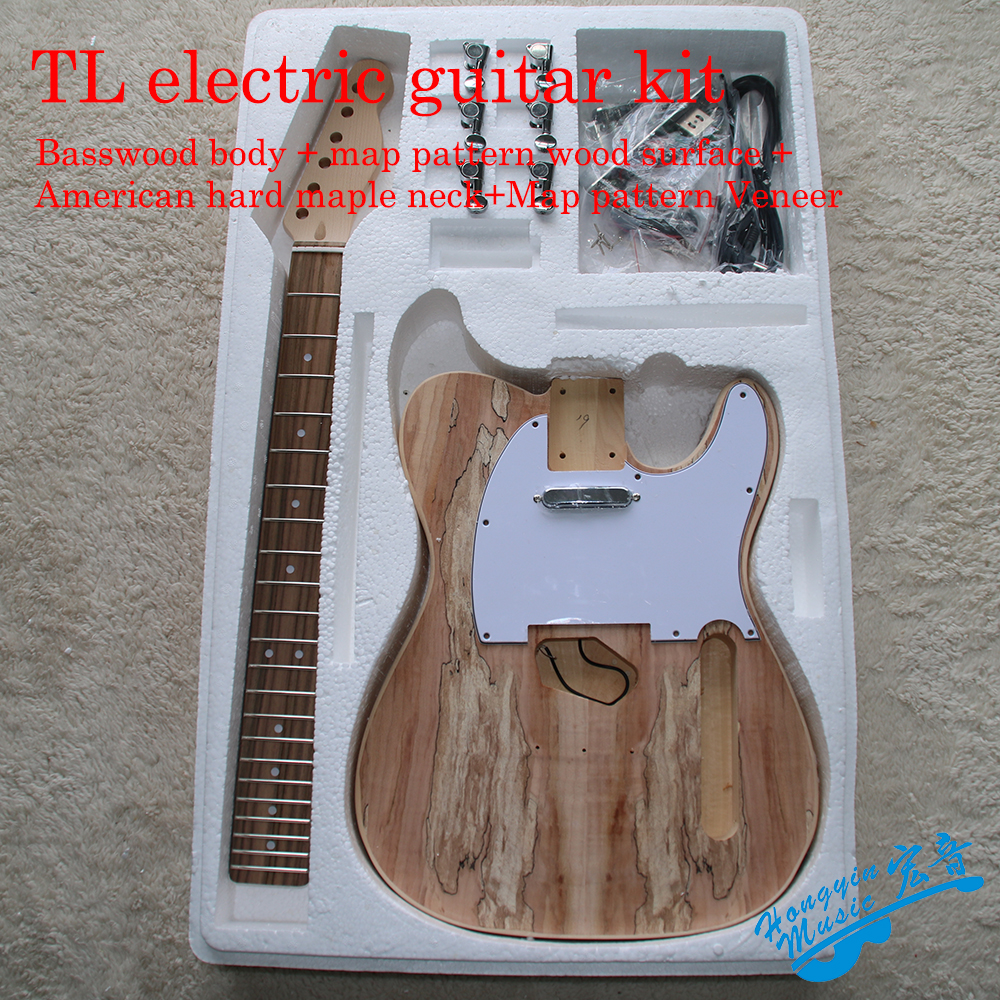 TL Style Electric Guitar DIY Kit Map Pattern Veneer A Grade Beechwood Body Hard Maple Neck Rosewood Fingerboard Set white tiger pattern 3a grade maple veneer lp style electric guitar diy kit african mahogany okoume body neck rosewood fretboard