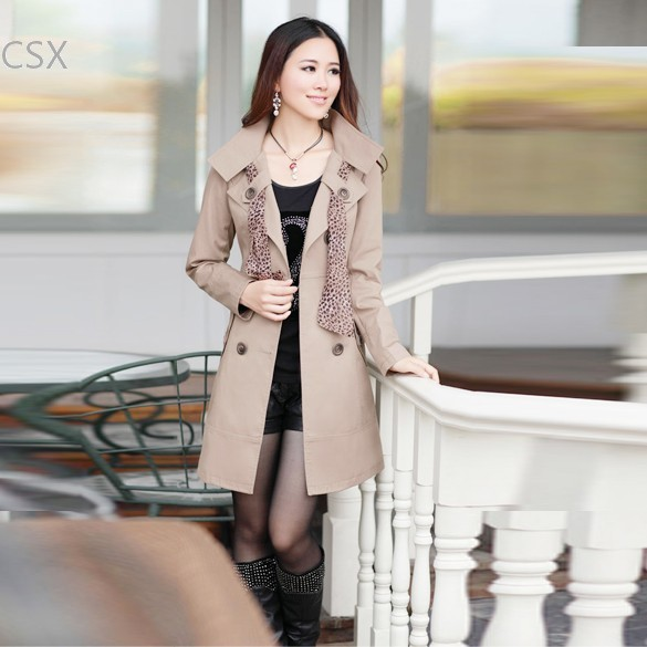 3 Color 3 Size free shipping new Women's Casual Double-Breasted Long Trench Coat Outwear with Scarf 38