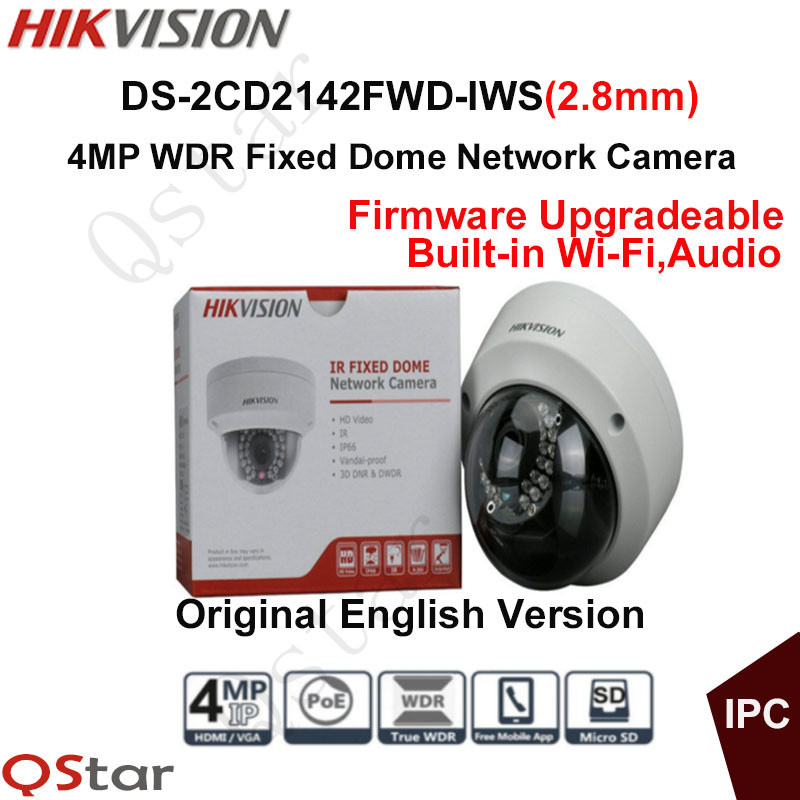 Hikvision Original English Version Surveillance Camera DS-2CD2142FWD-IWS(2.8mm) 4MP IP Camera PoE Audio WIFI CCTV Camera Onvif touchstone teacher s edition 4 with audio cd