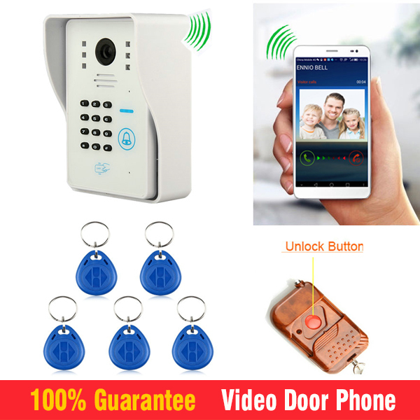 WiFi Wireless Video Intercom Door Phone System support Remote Controller /ID Card /password / IOS Android App Unlock 2015 free shipping wifi video door phone door bell intercom systems app can be run in android and ios devices