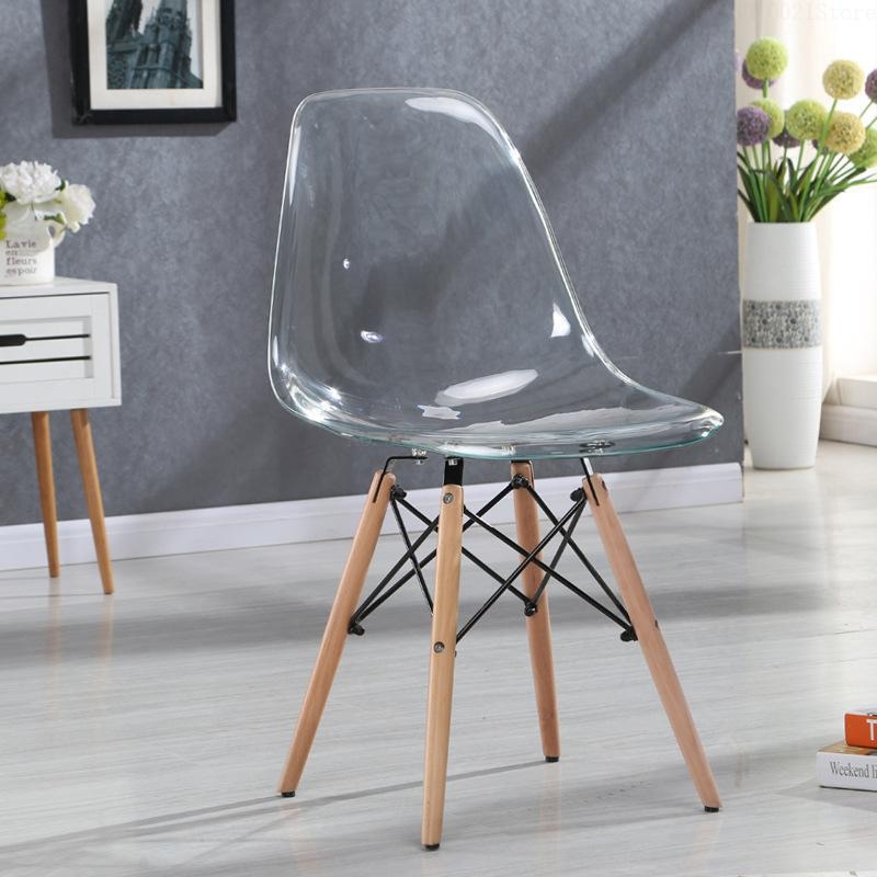 Creative armrest leisure chair plastic crystal transparent dining chair simple modern fashion coffee shop office chair