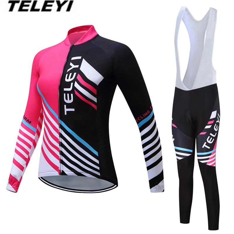 Cycling Jersey 2018 MTB Bike jersey Bib Pants Set Women Cycling clothing Suit Ropa Ciclismo trouser Riding Long Sleeve T-shirts teleyi black red ropa ciclismo maillot trouser mtb bike jersey bib pants set men cycling clothing suit riding long sleeve jacket