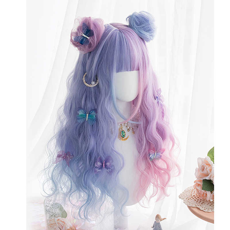 CosplaySalon H762476 Llolita 65CM Long Curly Purple Mixed Blue Ombre Bangs With Buns Headband Japan Cute Ladies Cosplay Wig + Cap