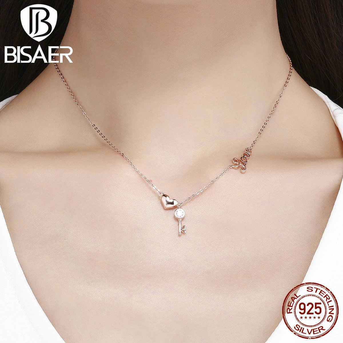 BISAER Серебряное ожерелье 925 пробы Серебряное сердце замок любовь брелок колье ожерелье Femme розовое золото цвет ювелирные изделия женские GXN292